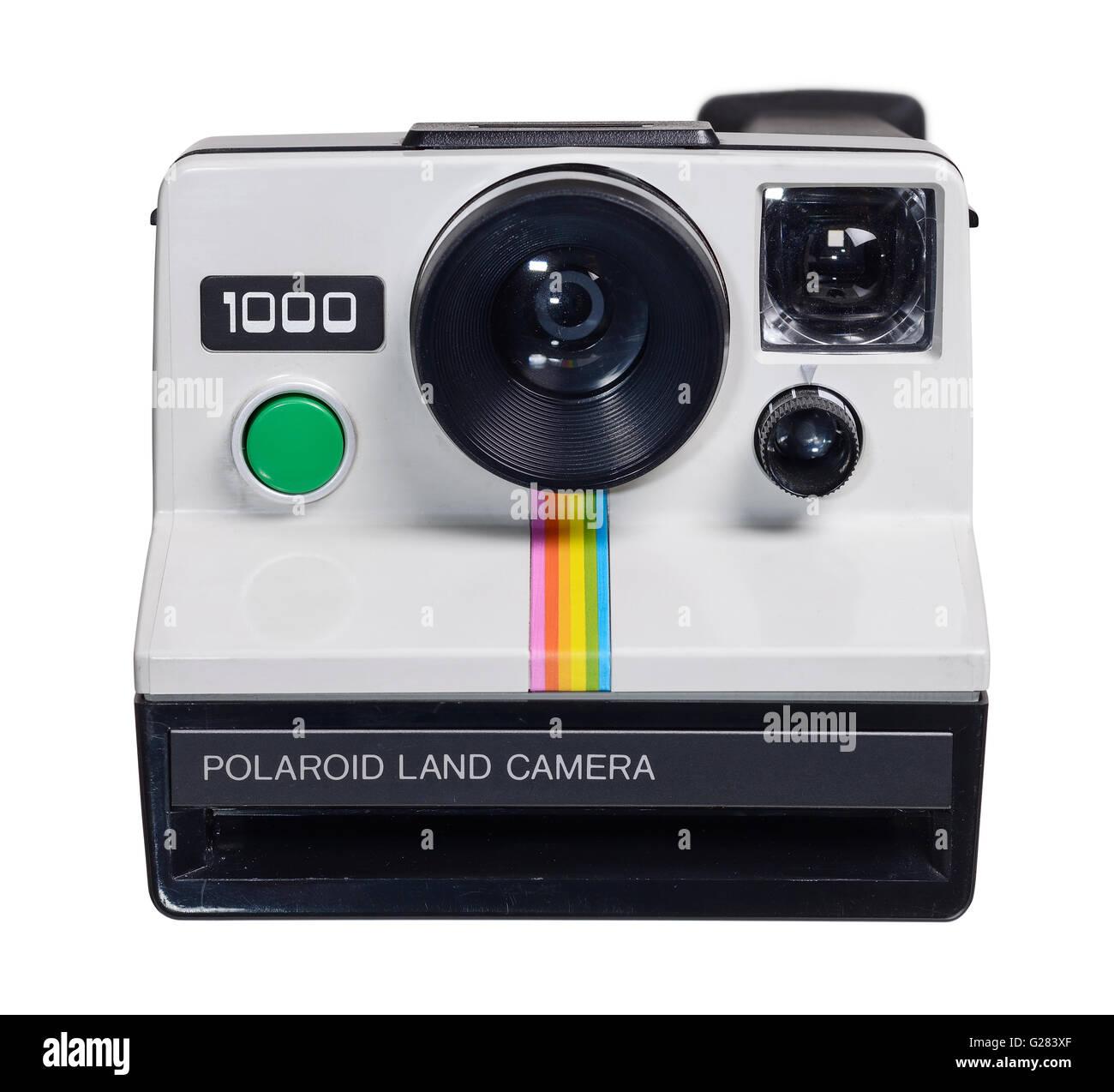 White vintage retro Polaroid 1000 Land camera - Stock Image