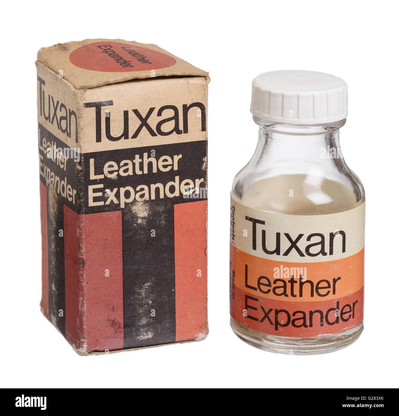 Old vintage bottle and box of Tuxan Leather Expander - Stock Image