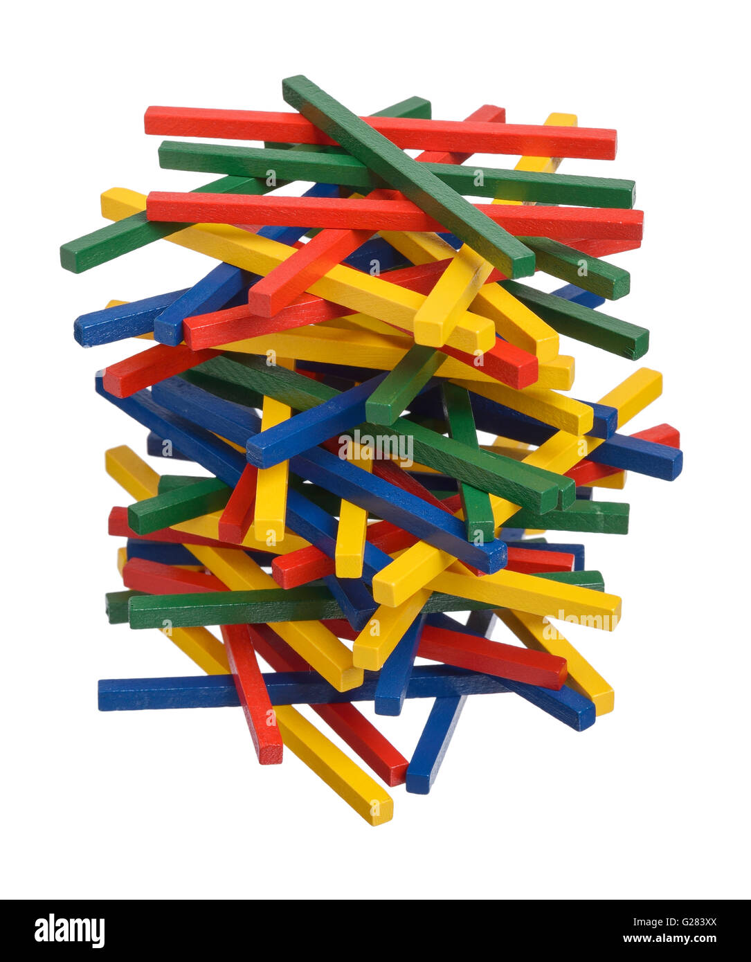 Stack of coloured wooden sticks - Stock Image