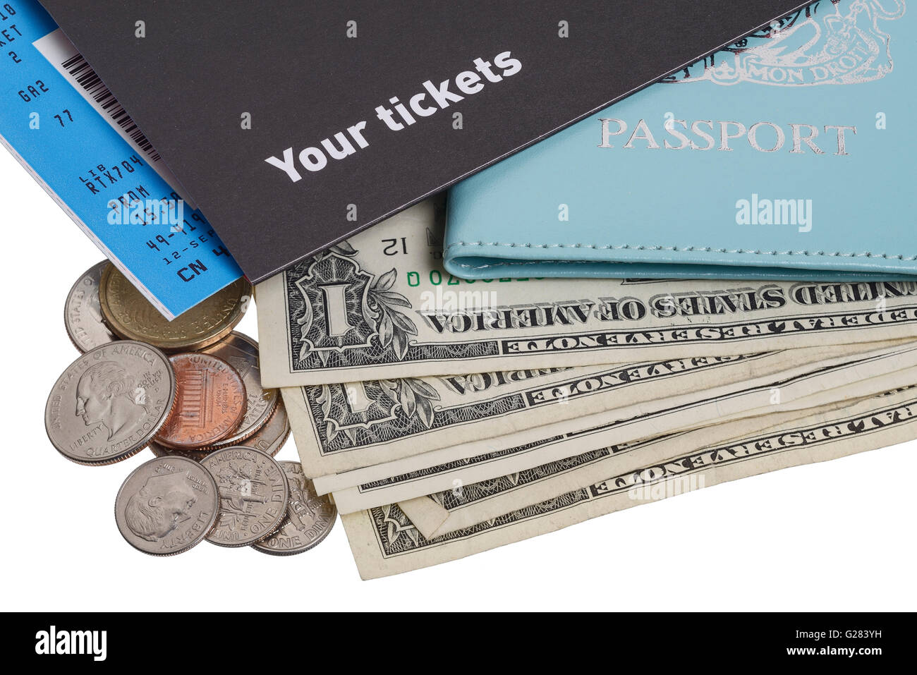 USA holiday money with a passport and ticket - Stock Image