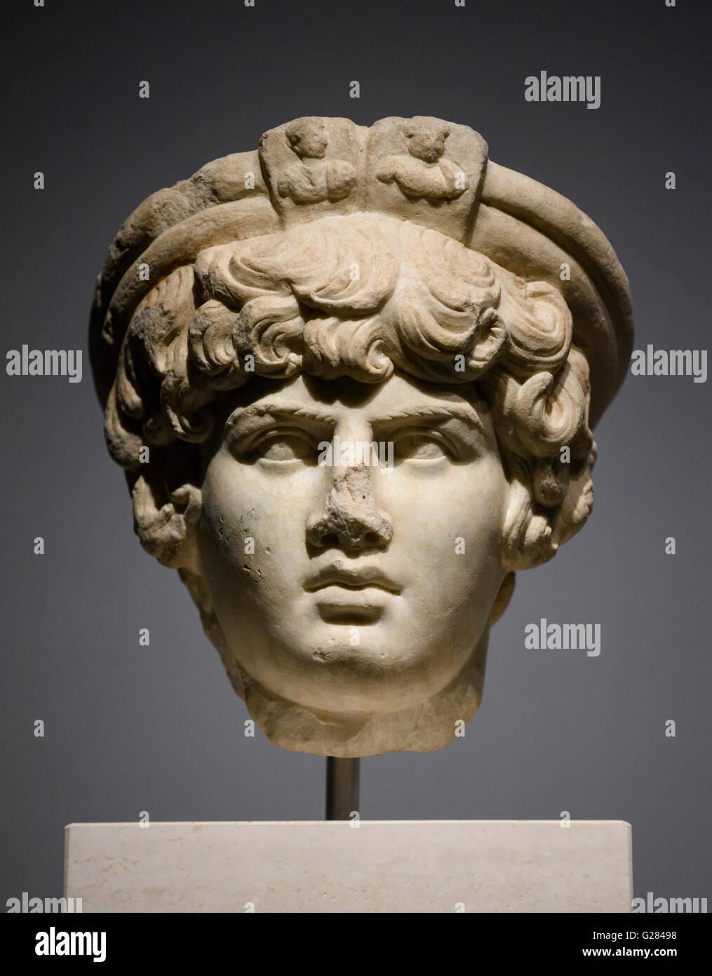 Rome. Italy. Museo Nazionale Romano. Palazzo Massimo alle Terme. Portrait of Antinous. Late Hadrianic period (AD - Stock Image