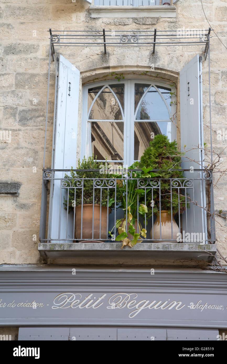 Petit Beguin Creations Shop Sign, Uzes, Provence, France - Stock Image
