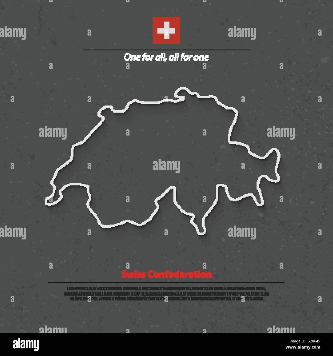Swiss Confederation map and official flag over grunge background. vector Switzerland political map 3d illustration. - Stock Vector
