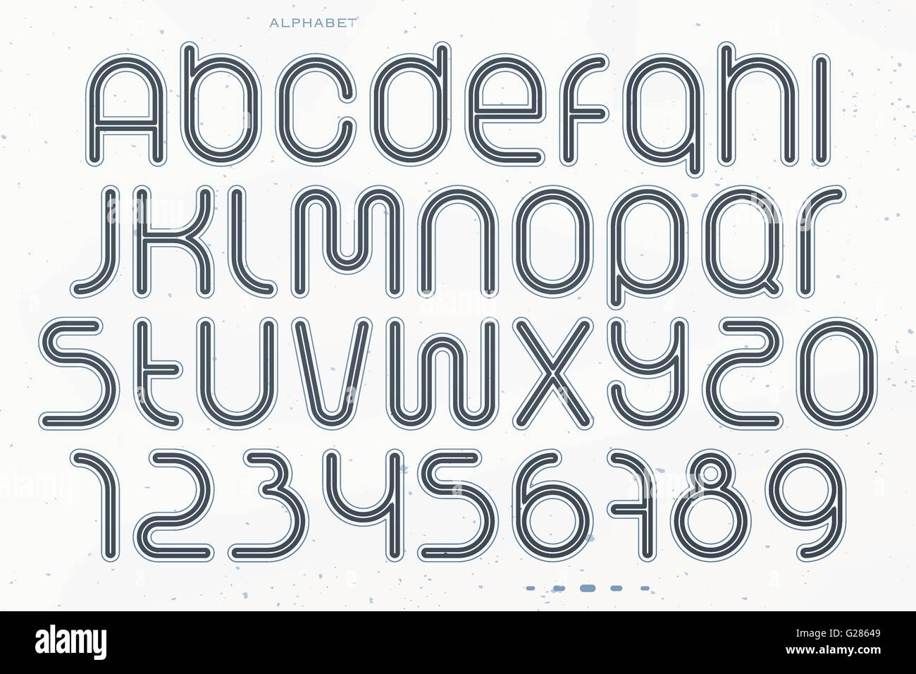 set of sport style alphabet letters and numbers isolated on white background. vector, dynamic, stylish font type - Stock Vector
