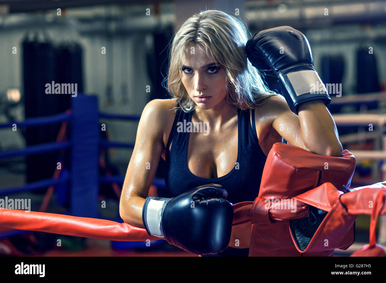 Young pretty boxer woman standing on ring - Stock Image