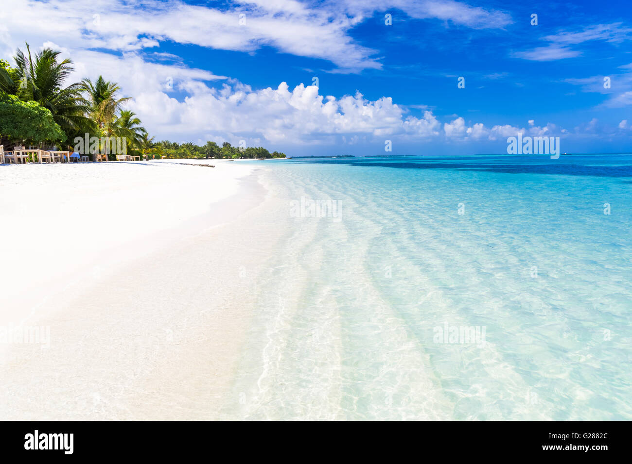 Amazing beach scenery in Maldives - Stock Image