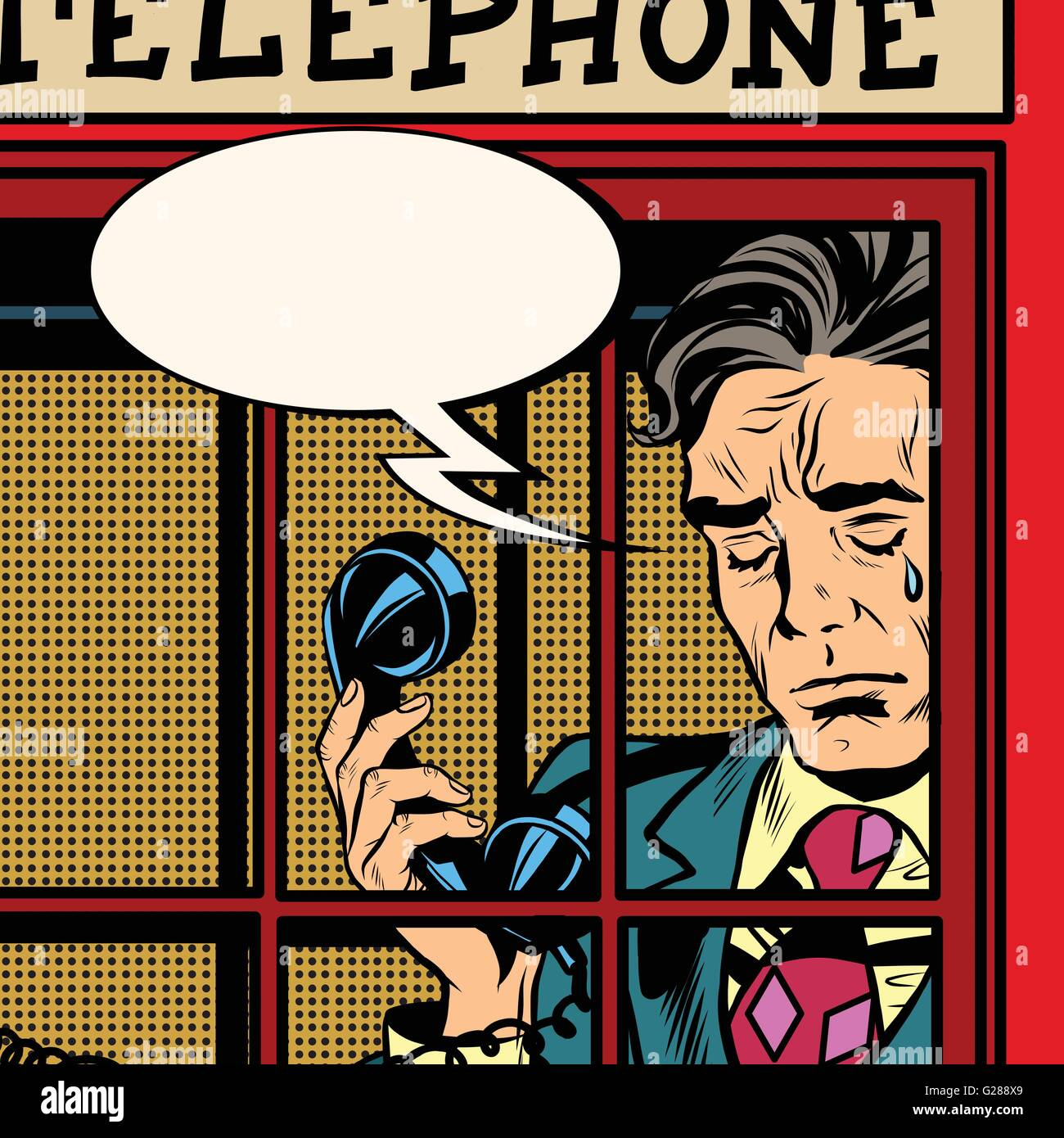 Retro man crying in the red phone booth - Stock Vector