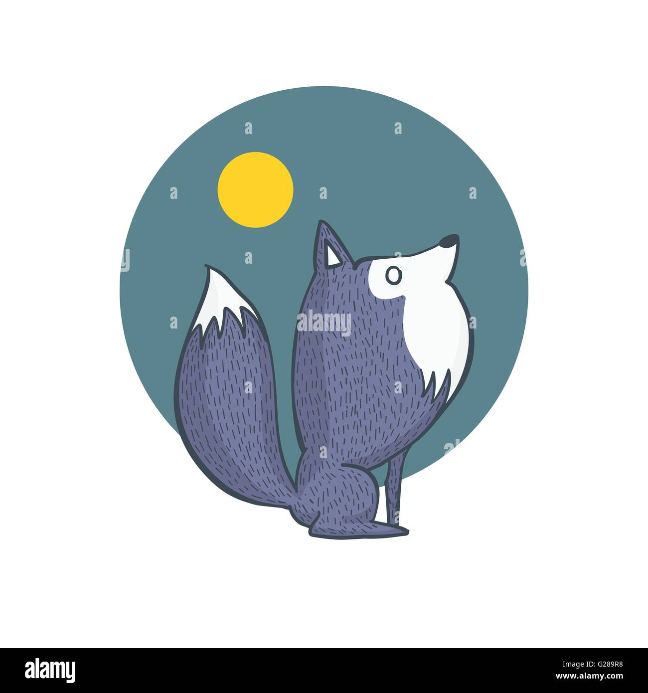 Vector Illustration of Gray Wolf and Full Moon Scenery, Cartoon Character Hand Draw - Stock Image