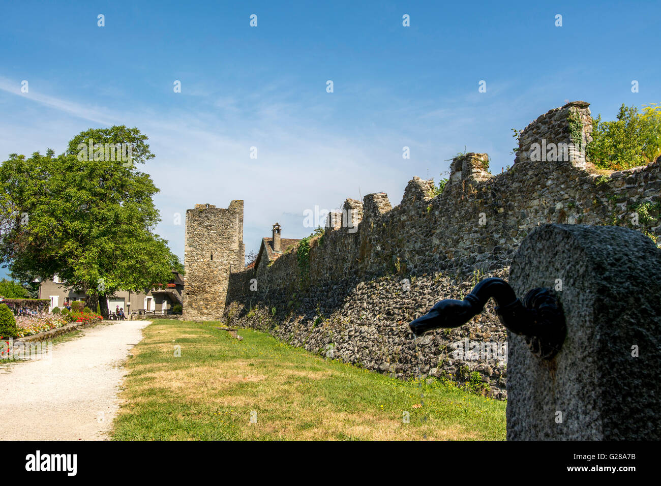 Rampart of Yvoire. Lake Leman. Haute Savoie.  France - Stock Image
