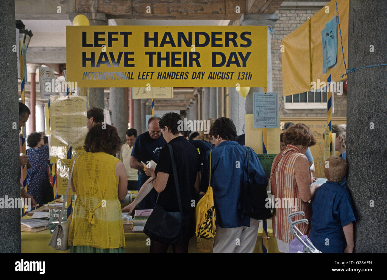 Left handers Day at a demonstration demos - Stock Image