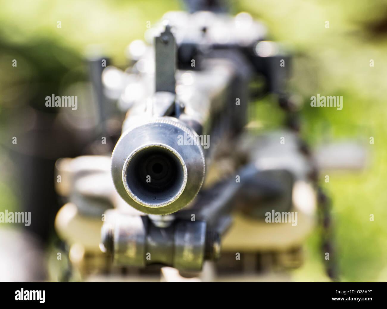 Close up photo of german historical machine gun of World War II. Ready to fire. War theme. Portable weapon. - Stock Image