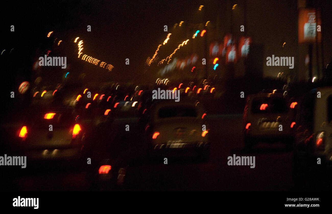 Abstract city lights from a busy night road, Kolkata, West Bengal, India - Stock Image