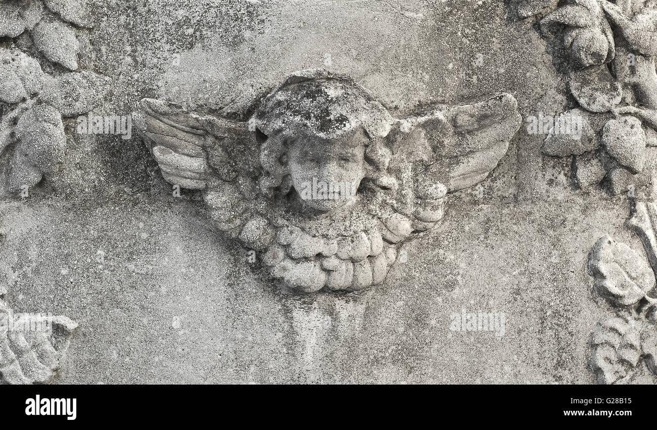 stone angel head - Stock Image