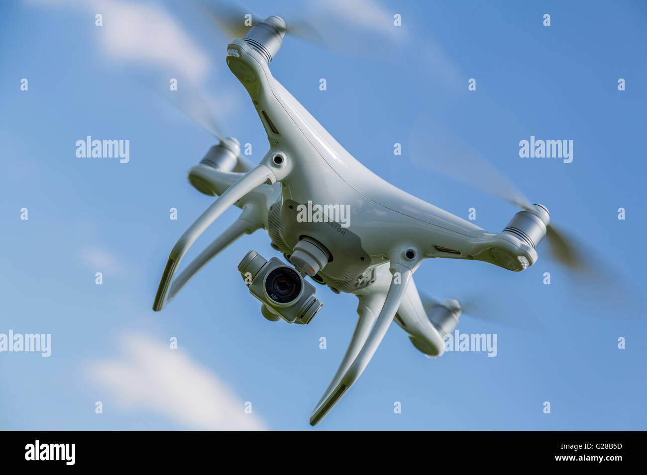 Close up image of a recreational drone / quadcopter UK England - Stock Image
