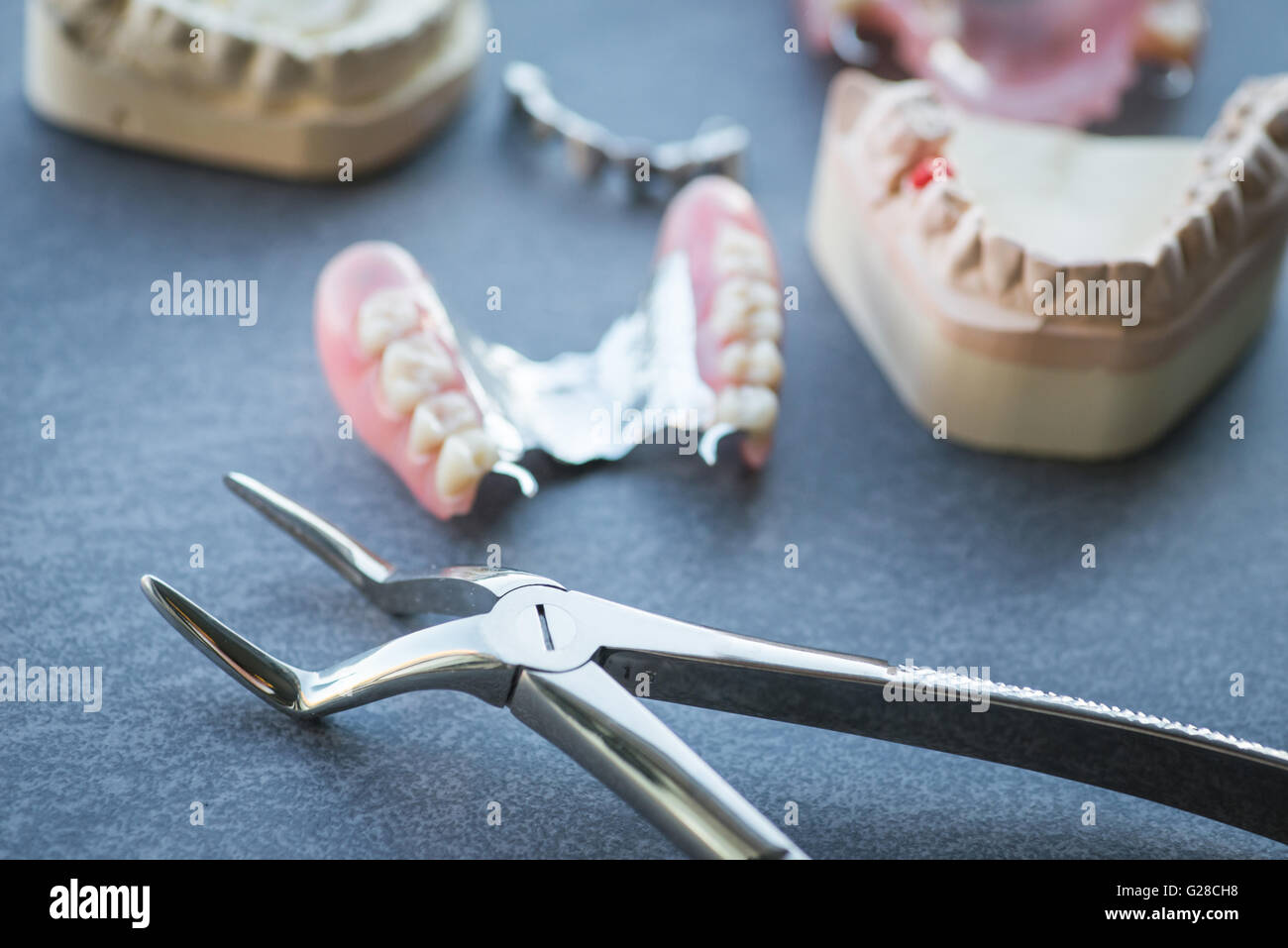Artificial replacement teeth with forceps on a dark surface - Stock Image
