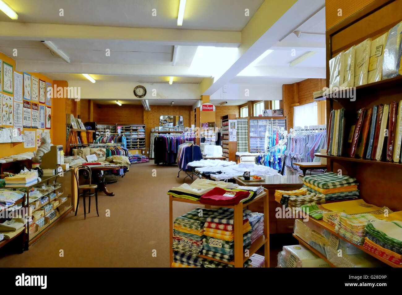 BRIDLINGTON, YORKSHIRE, UK. MAY 11, 2016. Inside  Ernest Whiteley's ladies' outfitters that has hardly changed in Stock Photo