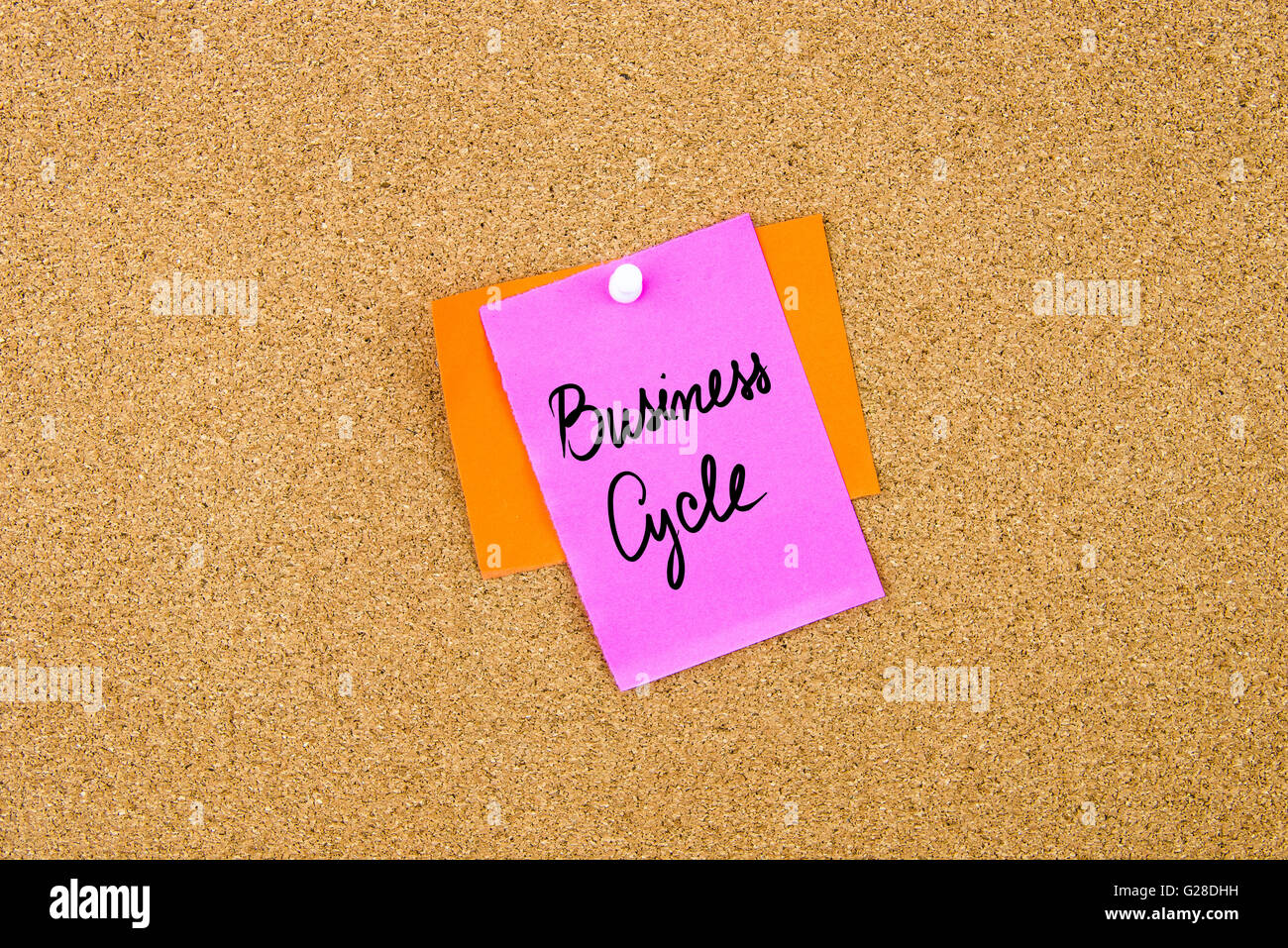 Business Cycle written on paper note pinned on cork board with white thumbtack, copy space available - Stock Image