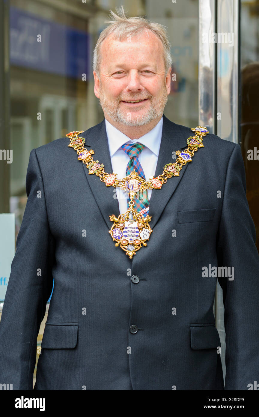 The Mayor of Worthing, Councillor Sean McDonald in Worthing, West Sussex, England, UK. - Stock Image