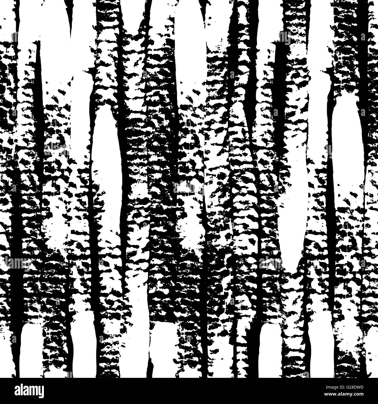 Hand Painted Vertical Brush Strokes Decorative Texture In Black And White.  Seamless Abstract Monochrome Repeating Background.