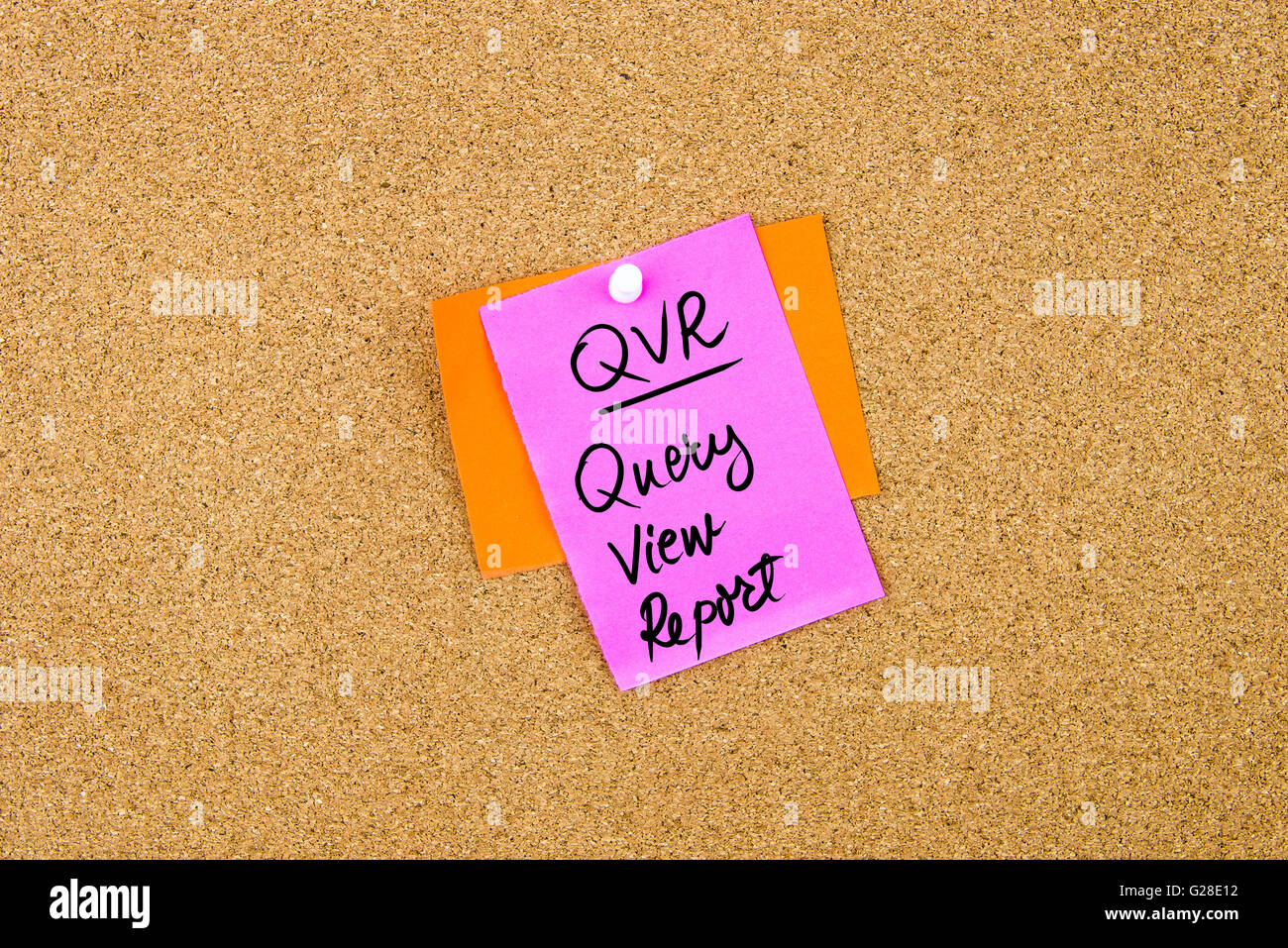 Business Acronym QVR Query View Report written on paper note pinned on cork board with white thumbtack, copy space - Stock Image