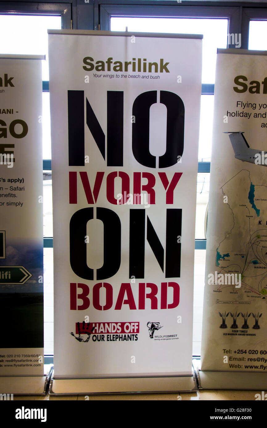 No Ivory on Board, Hands off our Elephants sign at Wilson Airport in Nairobi, Kenya, East Africa - Stock Image