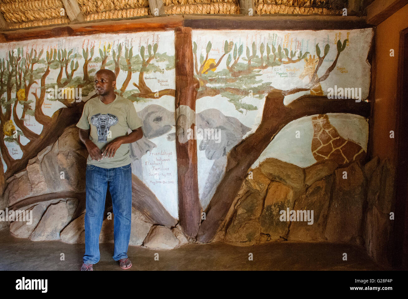 Sabinga Gilbert Lekalau describes the work of Save the Elephants in tracking and studying elephants and helping - Stock Image