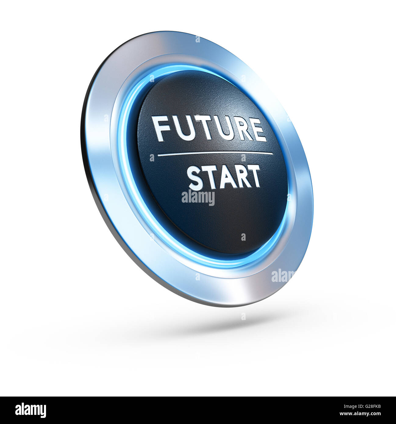 3D illustration of a pushbutton where it is written future start with blue light over white background. Concept - Stock Image