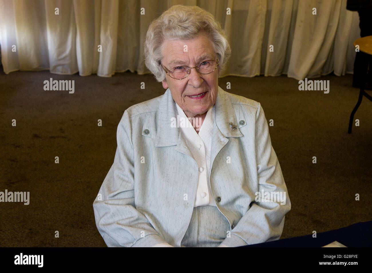 Zena Skinner, chef, writer and cookery expert on TV and radio, pictured after giving a talk to Northampton U3A - Stock Image