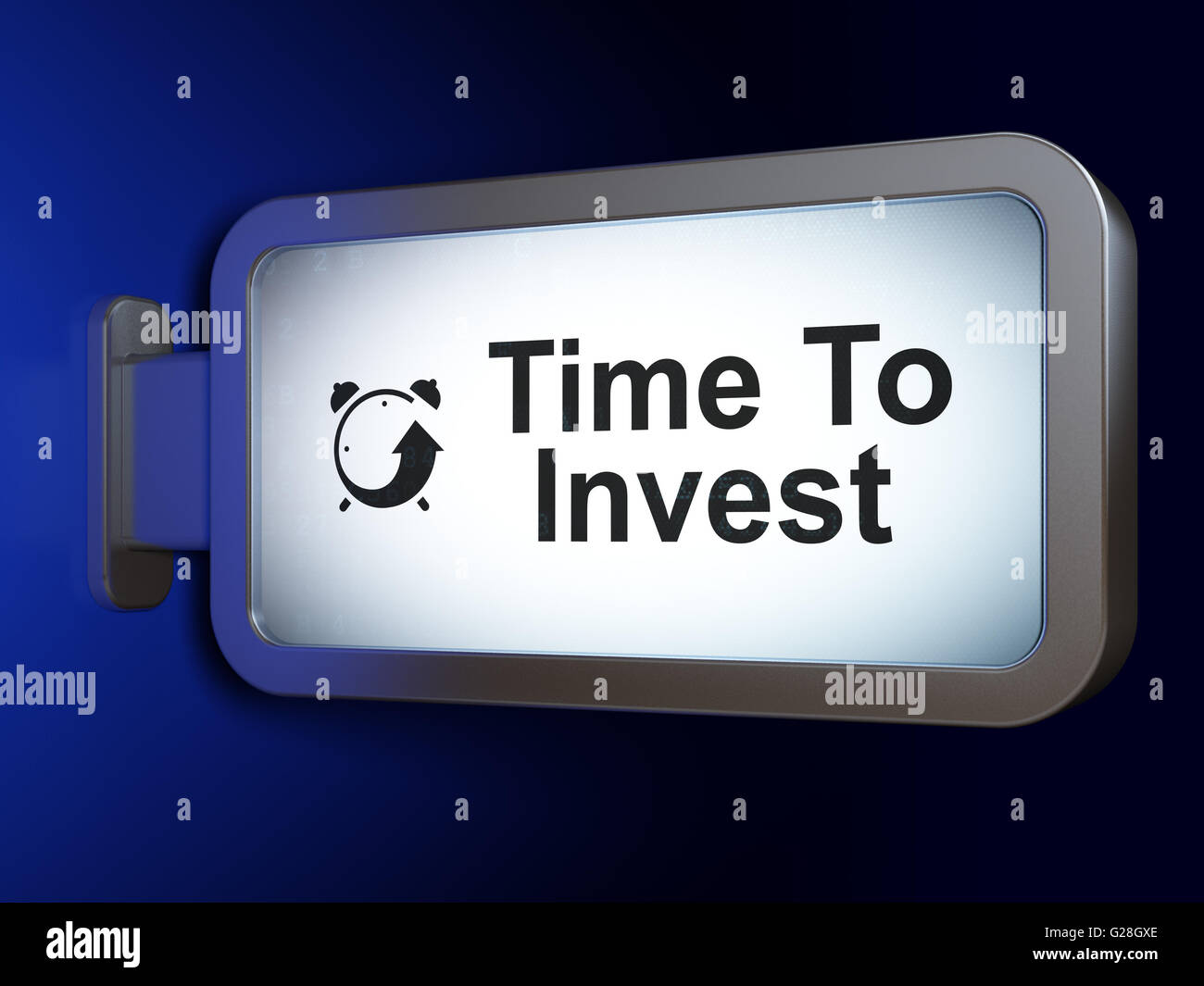 Timeline concept: Time To Invest and Alarm Clock on billboard background - Stock Image