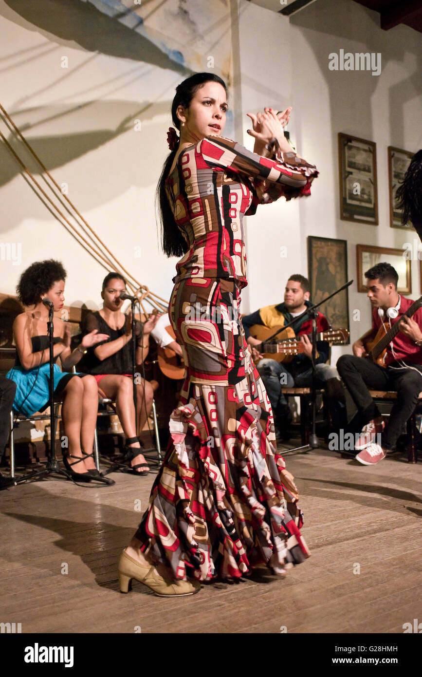 A female Flamenco dancer performing in a restaurant in the old town of Havana La Habana, Cuba. - Stock Image