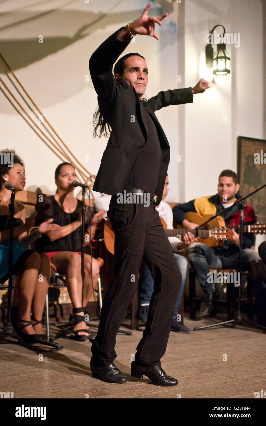 A male Flamenco dancer performing in a restaurant in the old town of Havana La Habana, Cuba. - Stock Image