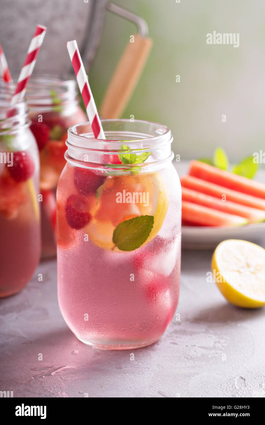 Summer drink watermelon and citrus lemonade - Stock Image