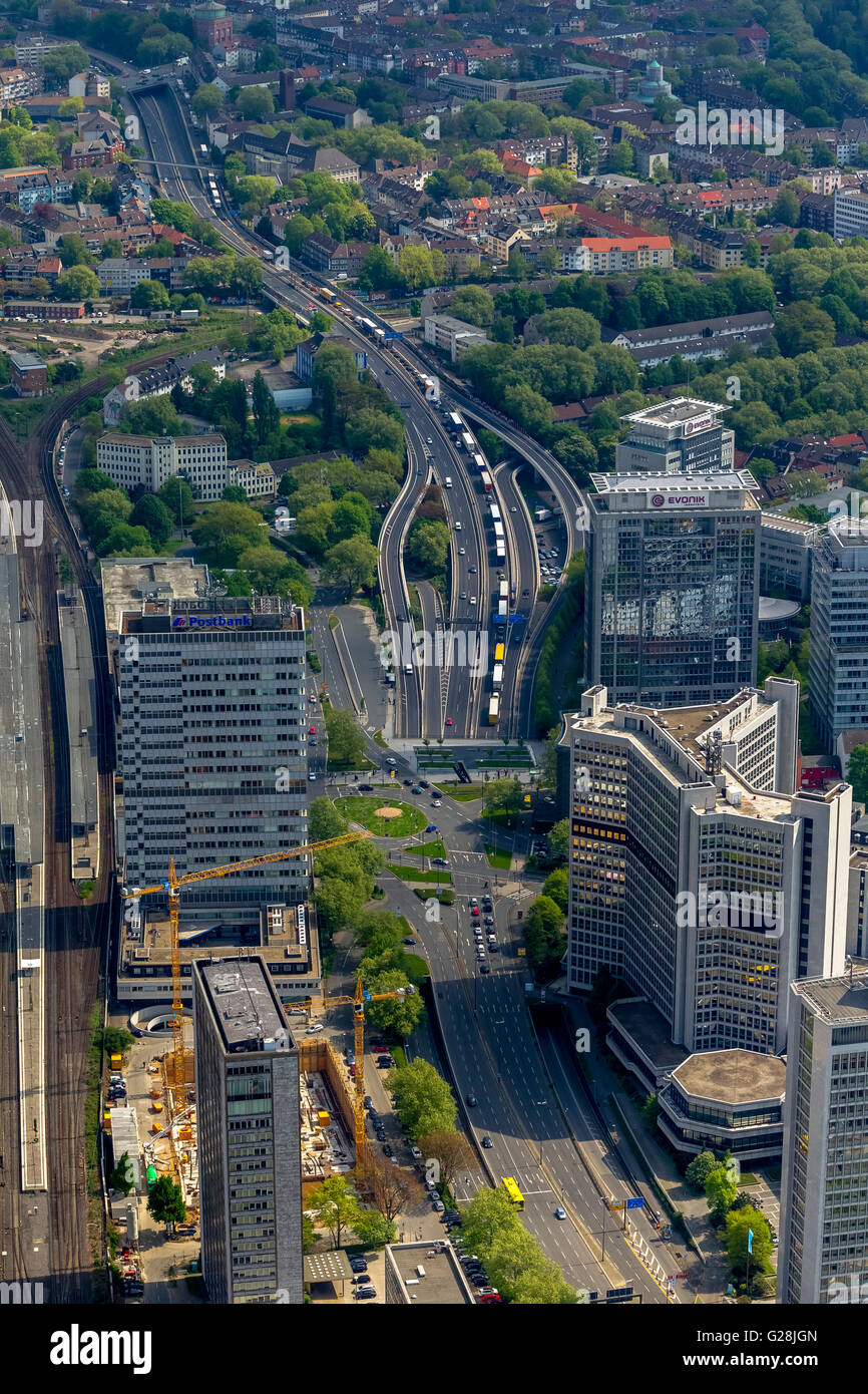 Aerial view, blocking the A40 in direction Bochum and blocking the A52 before the A40, Essen, Ruhr, Nordrhein-Westfalen, Stock Photo