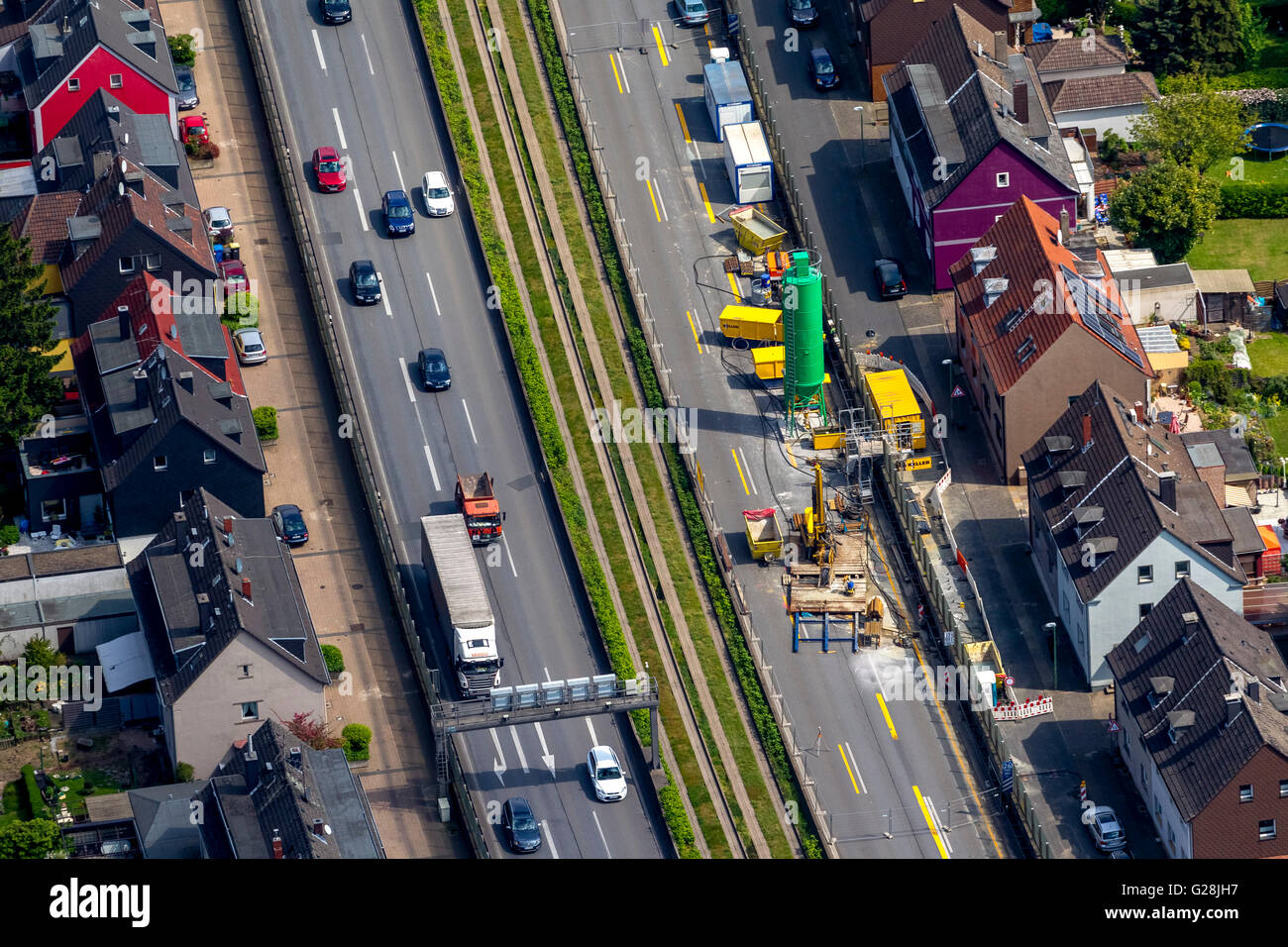 Aerial view, filling the possible day break, blocking the A40 in direction Bochum and blocking the A52 before the Stock Photo