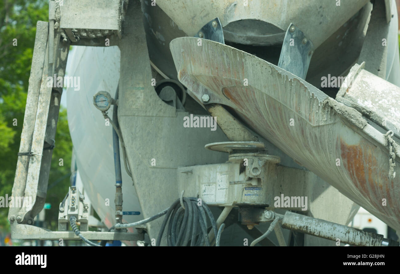 detail of the rear of a concrete mixer truck - Stock Image