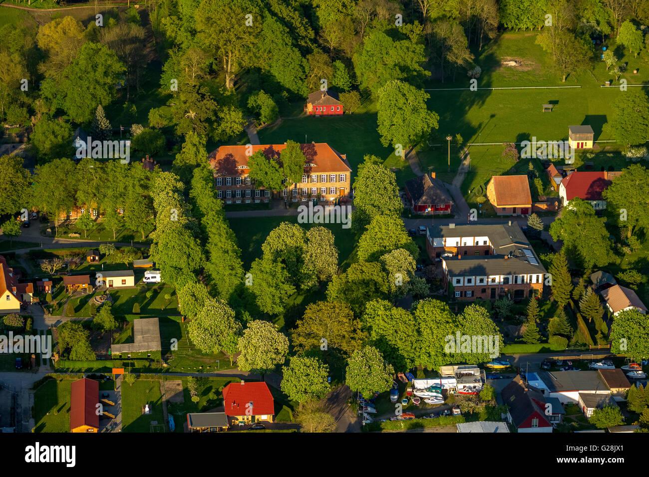 Aerial view, Romantik Hotel Gutshaus Ludorf, restaurant Morizianer, Ludorf, Mecklenburg Lake District, Mecklenburg - Stock Image