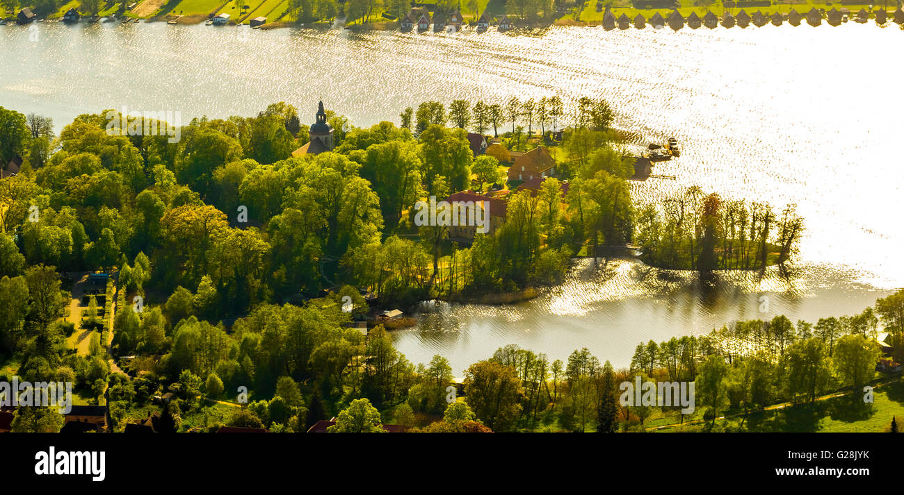 Aerial view, castle island with transition to Island of Love Mirow, Mirow, Mecklenburg Lake District, Mecklenburg - Stock Image