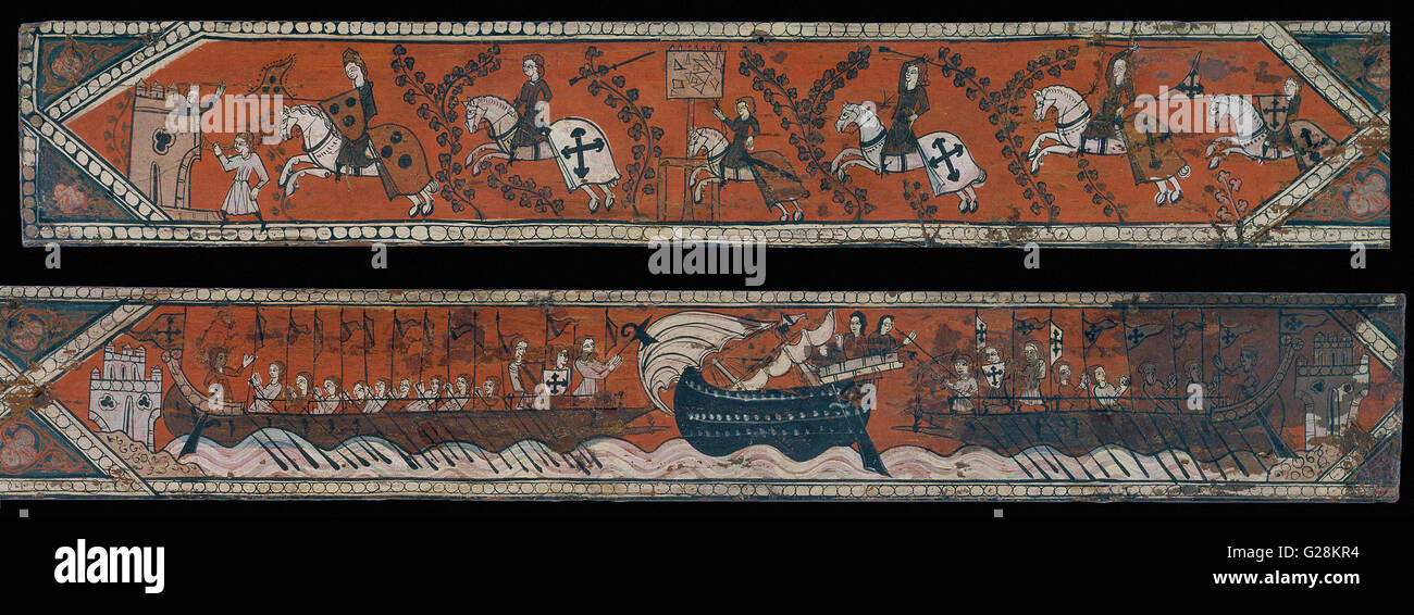 Ceiling panel with knights, galleys and a boat with a high gunwale  - MNAC - Barcelona - Stock Image