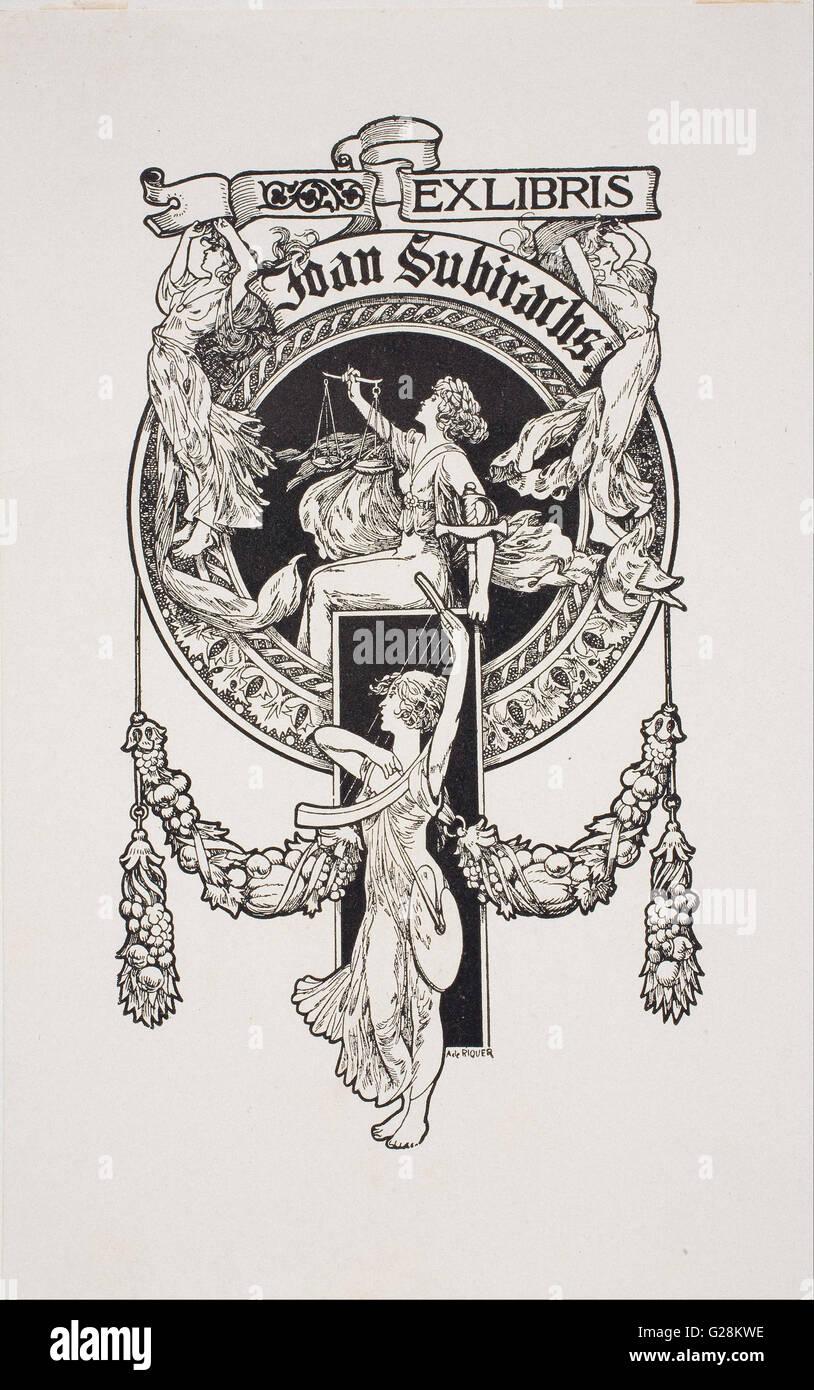 Alexandre de Riquer - Book-plate of Joan Subirachs  - MNAC - Barcelona - Stock Image