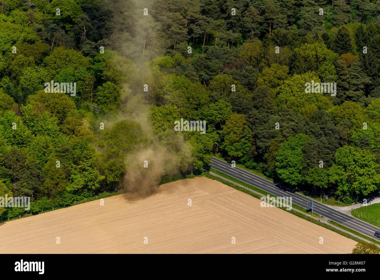 Aerial, aerial view, wind pants on a field near Mönchengladbach, small tornado, Mönchengladbach Niederrhein - Stock Image