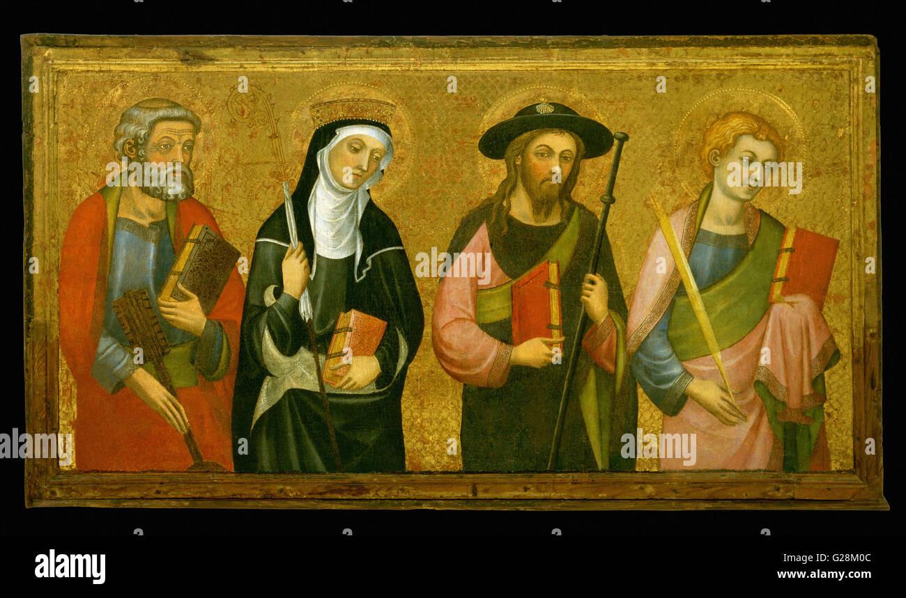 Pere Serra - Saint Peter, Saint Claire, Saint James the Great and Saint   - MNAC - Barcelona - Stock Image