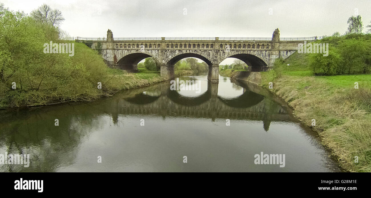 Aerial view, old ride, bridge construction, water bridge over the ...