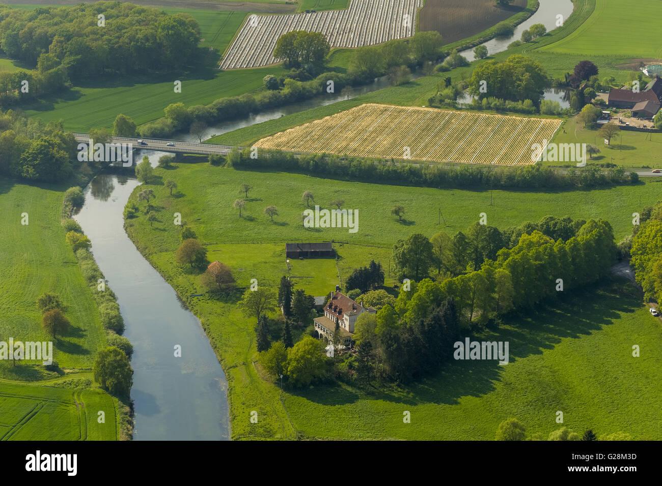 Aerial view, Hotel Restaurant Zur noise castle on the lip, Olfen, Lippe Lippeauen, Lippe course, Münsterland - Stock Image