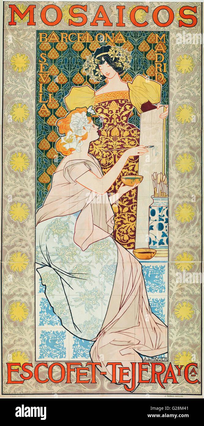 Alexandre de Riquer - Mosaicos Escofet-Tejera y CA  - MNAC - Barcelona - Stock Image