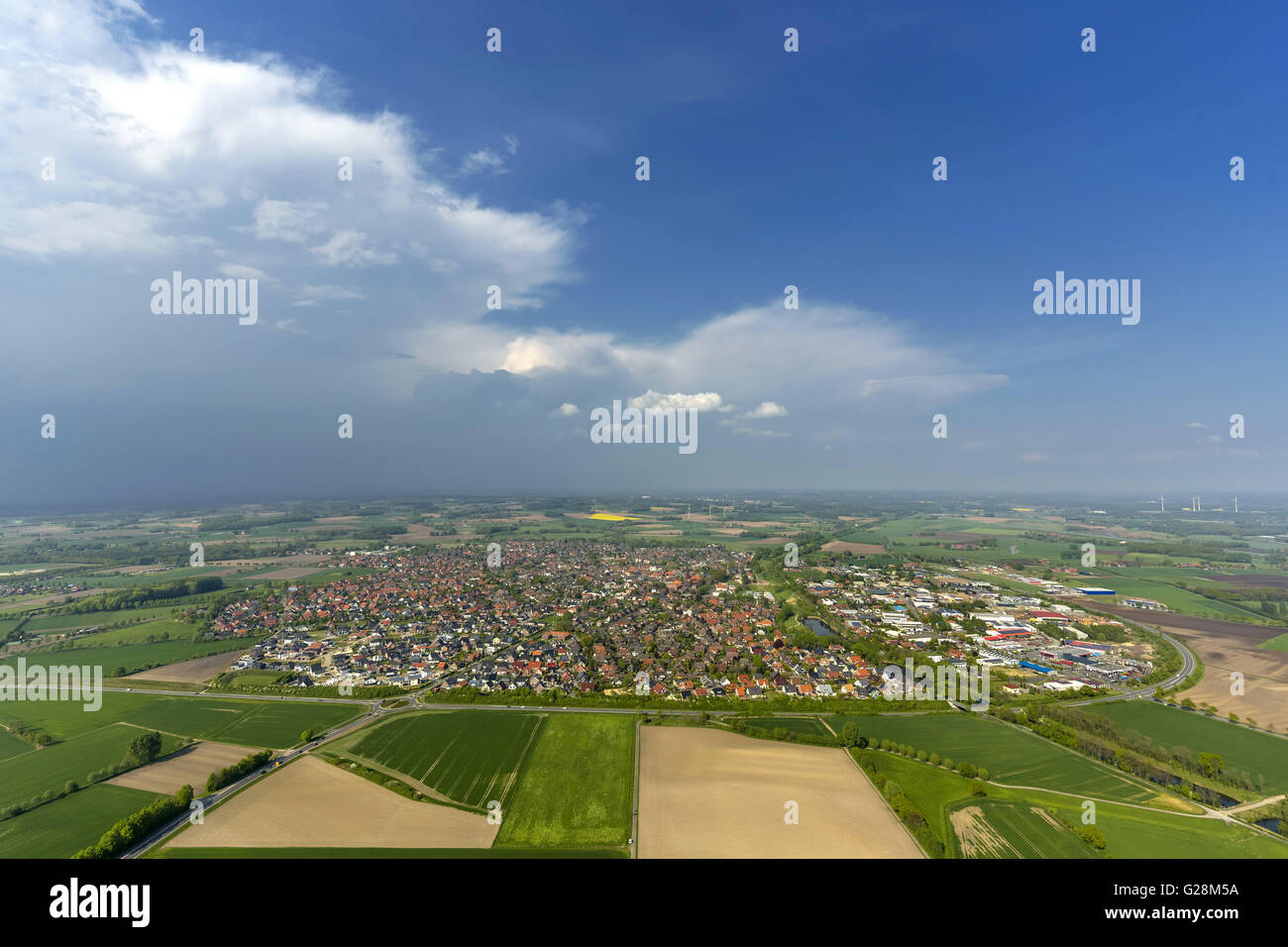 Aerial view, Olfen, green city, cloudy sky over Olfen, Münsterland countryside, Germany, Europe, Aerial view, - Stock Image
