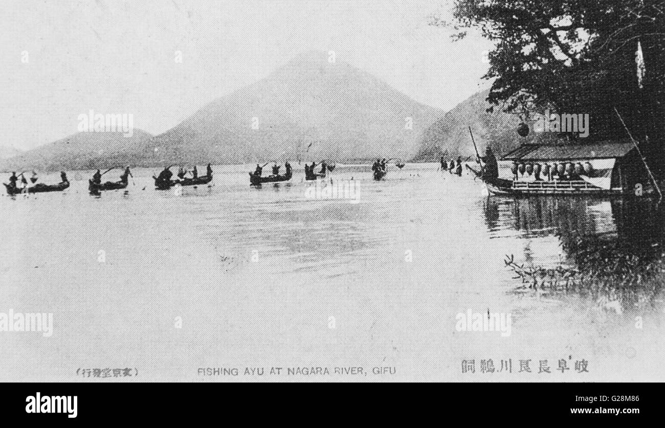 Cormorant fishing, Nagara River, Gifu, Japan. c 1911. Meiji 44. - Stock Image