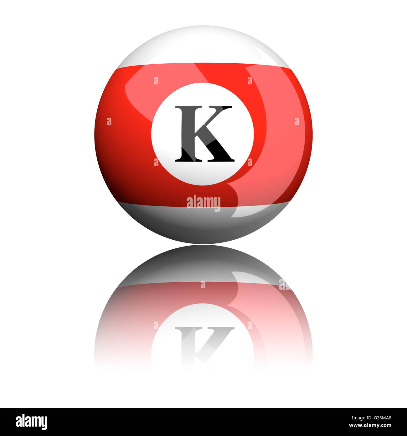 3D rendering sphere alphabet letter K isolated on white. - Stock Image