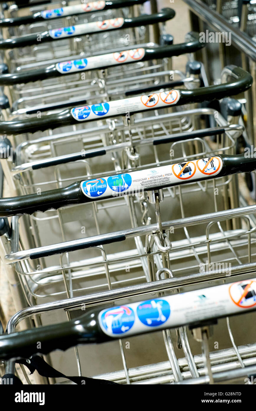 Luggage trolly on the airport of Barcelona - Stock Image