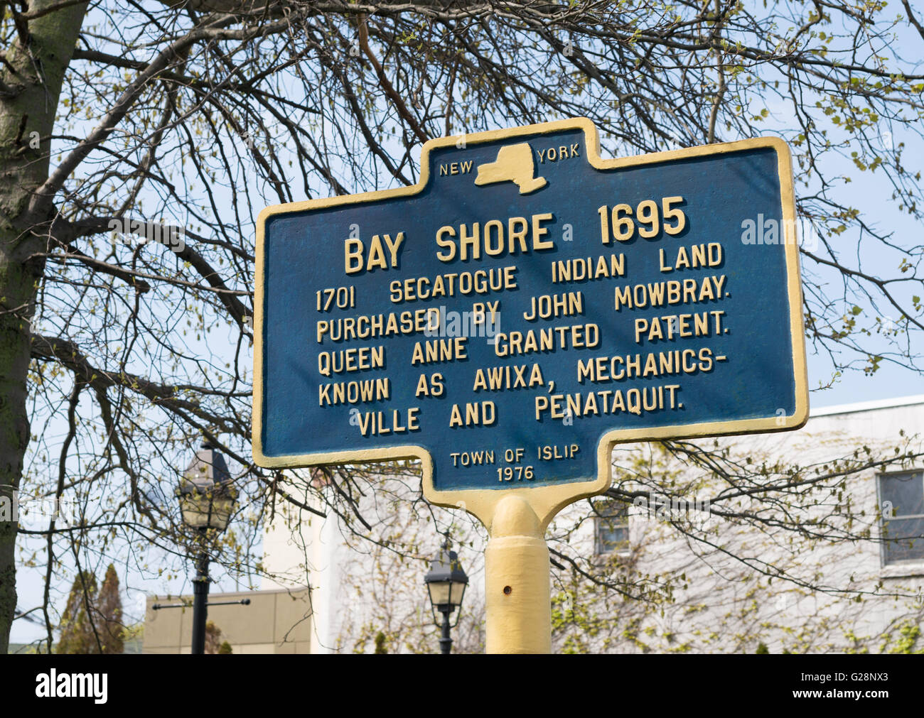 Notice Bay Shore 1695, purchase of Secatogue Indian land, town of Islip, Long Island, New York, USA - Stock Image