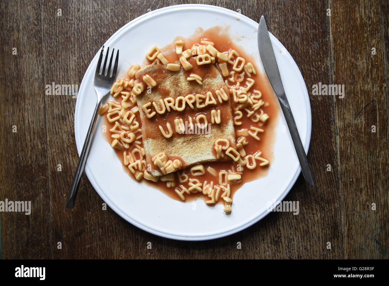 European Union - EU Referendum concept image in kids alphabet pasta on toast - Stock Image